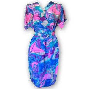 1980s Liz Claiborne Faux Wrap Belted Dress